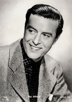 https://flic.kr/p/BSq9Gx | Ray Milland | Italian postcard by Casa Editr. Ballerini & Fratini (B.F.F.), Firenze (Florence), no. 8618. Photo: Paramount Films.  British actor and director Ray Milland (1905-1986) had a screen career that ran from 1929 to 1985. He appeared in many Hollywood movies as the archetypal, unflappable British gentleman. Milland is best remembered for his gut-wrenching, Academy Award–winning portrayal of an alcoholic writer in The Lost Weekend (1945), for the murder-...