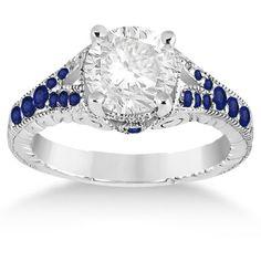 Allurez Antique Art Deco Blue Sapphire Engagement Ring 14k White Gold... ($1,185) ❤ liked on Polyvore