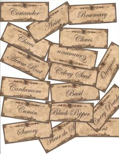 45 Small Vintage look LABELS~PANTRY ~primitive labels ~Grungy.   eBay