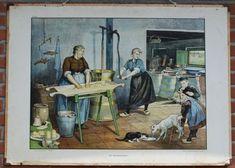 making butter (Cornelis Jetses) Teaching Tables, Anton Pieck, Paper People, Cornelius, Decoupage Paper, Vintage Pictures, Vintage Cards, The Past, Illustration Art
