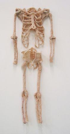 """""""Suit for a Skeleton"""" knitted art by by Jimini Hignett Lots of work on this one Knit Art, Crochet Art, Textiles, Textile Fiber Art, Yarn Bombing, Anatomy Art, Skull And Bones, Soft Sculpture, Skull Art"""