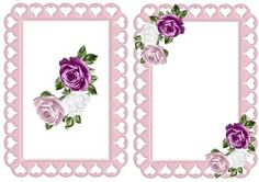 shades of pink roses in heart frame A5 Insert on Craftsuprint - Add To Basket!