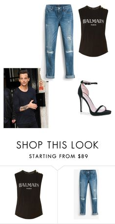 """paris lunch with Louis"" by lovelyfashionstyles ❤ liked on Polyvore featuring Balmain, White House Black Market and Boohoo"