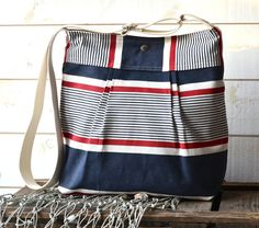 Stockholm Diaper bag Denim navy Red and Ecru  Pleated by ikabags, $59.00