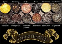 The Hufflepuff Palette features the iconic Yellow and Black house colors as well as the entire Hogwarts Shadows Collection which complement. Harry Potter Make-up, Harry Potter Eyeshadow Palette, Harry Potter Makeup Palette, Objet Harry Potter, Maquillage Harry Potter, Casas Estilo Harry Potter, Beauty Makeup, Eye Makeup, Makeup Kit