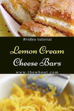 These Lemon Cream Cheese Bars are beyond delicious and the tangy, zesty flavour is fresh and makes for the perfect dessert. You won& be disappointed. Köstliche Desserts, Lemon Desserts, Delicious Desserts, Dessert Recipes, Yummy Food, Dessert Bread, Dessert Bars, Lemon Cream Cheese Bars, Pillsbury Recipes