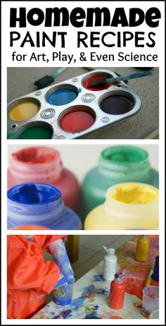 Homemade paint recipes- baby safe paints, finger paints, fizzing paints, face paint, bath paint recipes,  and more!
