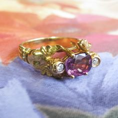 Vintage 1990's 1.47ct t.w. Natural Purple Sapphire & Diamond Two Angels Figural Ring 18k | Antique & Estate Jewelry | Jewelry Finds