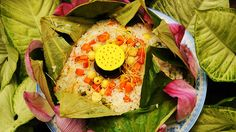Pagoda rice steamed in lotus leaf (com hap la sen) recipe : SBS Food Rice Recipes, Indian Food Recipes, Asian Recipes, Ethnic Recipes, Cantonese Food, Sbs Food, Pineapple Recipes, Food Stall, Fried Vegetables