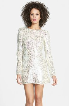 $258, Silver Sequin Shift Dress: Dress the Population Alina Sequin Chiffon Shift Dress. Sold by Nordstrom. Click for more info: http://lookastic.com/women/shop_items/129303/redirect