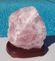Rose Quarts Crystal 9.2 LBS on a Wood Stand (OT-MFR005) $89.90US/OBO #rose #quartz #crystal #fathersday #dads #homedecor #coolrock