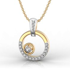 Yellow Gold Over Carat Round Shaped Diamond Pendant Valentine Special Gold Pendant, Diamond Pendant, Diamond Jewelry, Infinity Pendant, Diamonds And Gold, Princess Cut Diamonds, Round Cut Diamond, Jewelry Collection, Gold Necklace