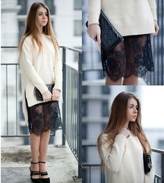 THAT LACE!! Anna Vershinina - Frontrowshop Sweater, Sheinside Skirt - Oh My Lover
