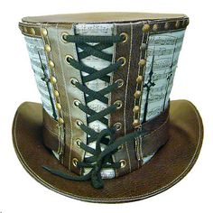 Steampunk madhatter Hand music print Top Hat with clock hand detail