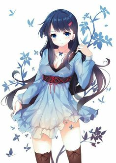 Anime Girl in a blue dress