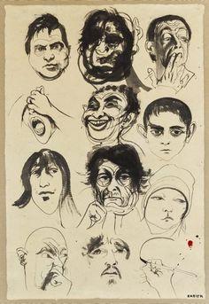 An image of Head studies by Brett Whiteley