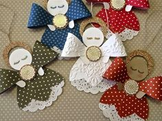 Decoration on Christmas tree Stampin Up Christmas, Christmas Paper, Christmas Angels, All Things Christmas, Crochet Christmas, Angel Crafts, Christmas Projects, Holiday Crafts, Stampin Up Weihnachten