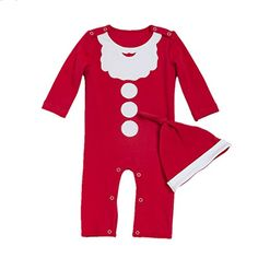 DecStore Bébés Filles Garçons 2pcs Noël Costume Père Noël Footies Romper Pyjama  Grenouillère avec Chapeau 6c25ea98f07