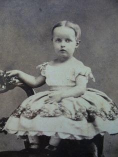 CIVIL WAR ERA CDV-DARLING CHILD IN BIG HOOP DRESS=NORRISTOWN,PA. C. 1860s.
