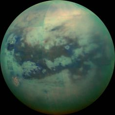 "NASA.gov - This composite image shows an infrared view of Saturn's moon Titan from NASA's Cassini spacecraft, acquired during the mission's ""T-114"" flyby on Nov. 13, 2015."