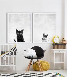 Cat and Mouse Prints Modern Nursery Decor Cute Nursery Prints