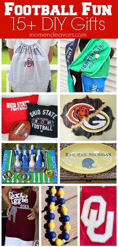 15+ DIY Gift Ideas (with tutorials) for football fans via momendeavors.com #football