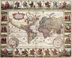 World map Nova Totius Terrarum Orbis Geographica Ac Hydrographica Tabula Autore made by the Dutch cartographer Claes Janszoon Visscher in the 17th century, published in 1652.