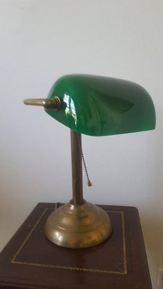 On Green Gl Lamp Banker Br Desk Vintage Lighting Antique Shade Attorneys