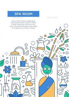 Spa Room - Line Design Brochure Poster Template A4