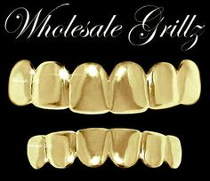 $8.20 FREE US SHIPPING!! Blowout sale going on NOW!! REAL SHINY!! New 14k Gold Plated HipHop Teeth Grillz Caps Top & Bottom Grill Set