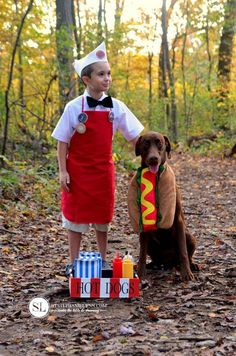 Cute Halloween costumes for dogs and owners. Find some DIY ideas that work great for guys, gals, kids & their favorite dog or dogs.