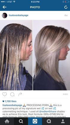 I used all shades eq to achieve this look. Root formula: Mid to ends formula: Process at least 12 Hair Color For Women, Hair Color And Cut, Cool Hair Color, Beige Blond, Brown Blonde Hair, Hair Color Swatches, Redken Hair Color, Redken Hair Products, Hair Color Formulas