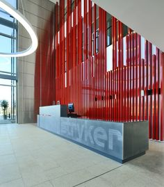 New Flagship Office / ESA Architects Office Design Suppose Design Office Reception Desk Design, Lobby Reception, Reception Counter, Office Reception, Reception Backdrop, Reception Areas, Lobby Interior, Office Interior Design, Interior Architecture