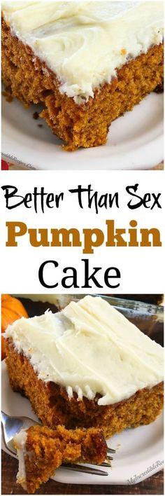 Better than Sex PUMPKIN Cake!  La mejor receta , la probé y aún sin el betún sabe deliciosa