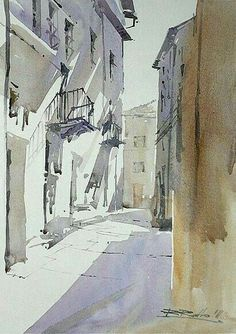 'A Street in Italy' by Rafal Rudko; watercolor.