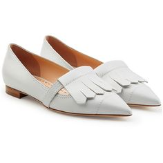 Rupert Sanderson Fringed Leather Loafers ($530) ❤ liked on Polyvore featuring shoes, loafers, flats, buty, footwear, white, white leather flats, loafer flats, white pointy toe flats and white leather shoes