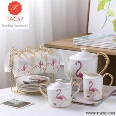 Flamingo Bone China Coffee Set Porcelain Tea Set Ceramic Pot Creamer Sugar Bowl Teatime Teapot Coffee Cup Tea Mug Fashion Afternoon Tea Set, Japanese Tea Set, Tee Set, China Crafts, Flamingo Decor, Pink Flamingos, Tea Mugs, Bone China, Dinnerware