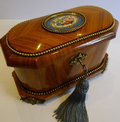 rare antique french tulipwood tea caddy with sevres plaque burr holly interior c1850