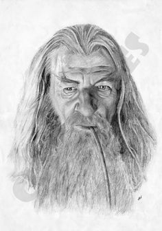 Gandalf Lord of the Rings Sketch - Photo-Realistic Pencil Drawing Print. A3
