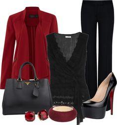 """Red n Black Work Outfit"" by lisamoran on Polyvore"