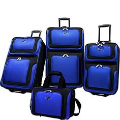US Traveler New Yorker 4 Piece Luggage Set ExpandableNavy Blue >>> Check out the image by visiting the link.