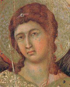 Madonna y niño en un trono (fragmento lado frontal), 1308-1311 - Duccio