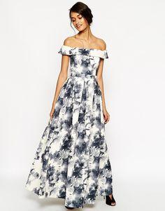Bild 1 von ASOS – Hochwertiges Maxikleid mit Bardot-Ausschnitt und schwarz-weißem Blumenprint
