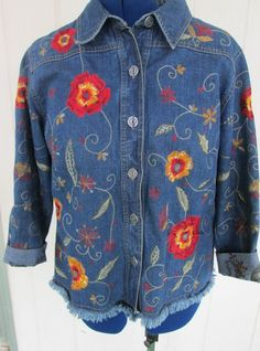 CHICO'S DENIM EMBROIDERED JACKET FLORAL DESIGN SIZE 2 JEAN TOP WOMEN'S APPAREL #Chicos #JeanJacket