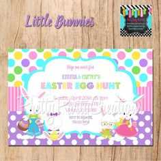 LITTLE BUNNIES Egg Hunt invitation  YOU by PrettyPartyCreations