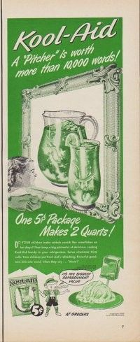 "Description: 1950 KOOL-AID vintage print advertisement ""A ""Pitcher"" is worth more than 10,000 words!"" ""One 5-cent Package Makes 2 Quarts!"" Size: The dimensions of the half-page advertisement are approximately 5.5 inches x 14 inches (14 cm x 36 cm). Condition: This original vintage advertisement is in Very Good Condition unless otherwise noted."