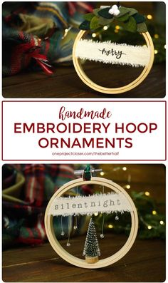 DIY Embroidery Hoop Ornaments DIY Embroidery Hoop Ornaments - One Project Closer Diy Christmas Ornaments, Christmas Projects, Holiday Crafts, Christmas Bulbs, Christmas Decorations, Christmas Activities, Snow Ornaments, Ornaments Ideas, Handmade Ornaments