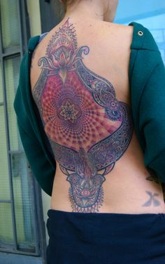back piece tattoo ornamental fatima hand optical dot work