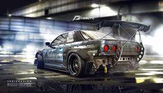 Need for speed tribute - Nissan Skyline R32, Yasid Oozeear on ArtStation at https://www.artstation.com/artwork/need-for-speed-tribute-nissan-skyline-r32