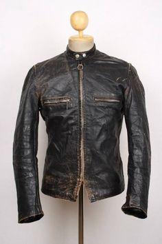 Vtg 60s BROOKS Gold Label Steerhide Leather Motorcycle Jacket CAFE RACER Small